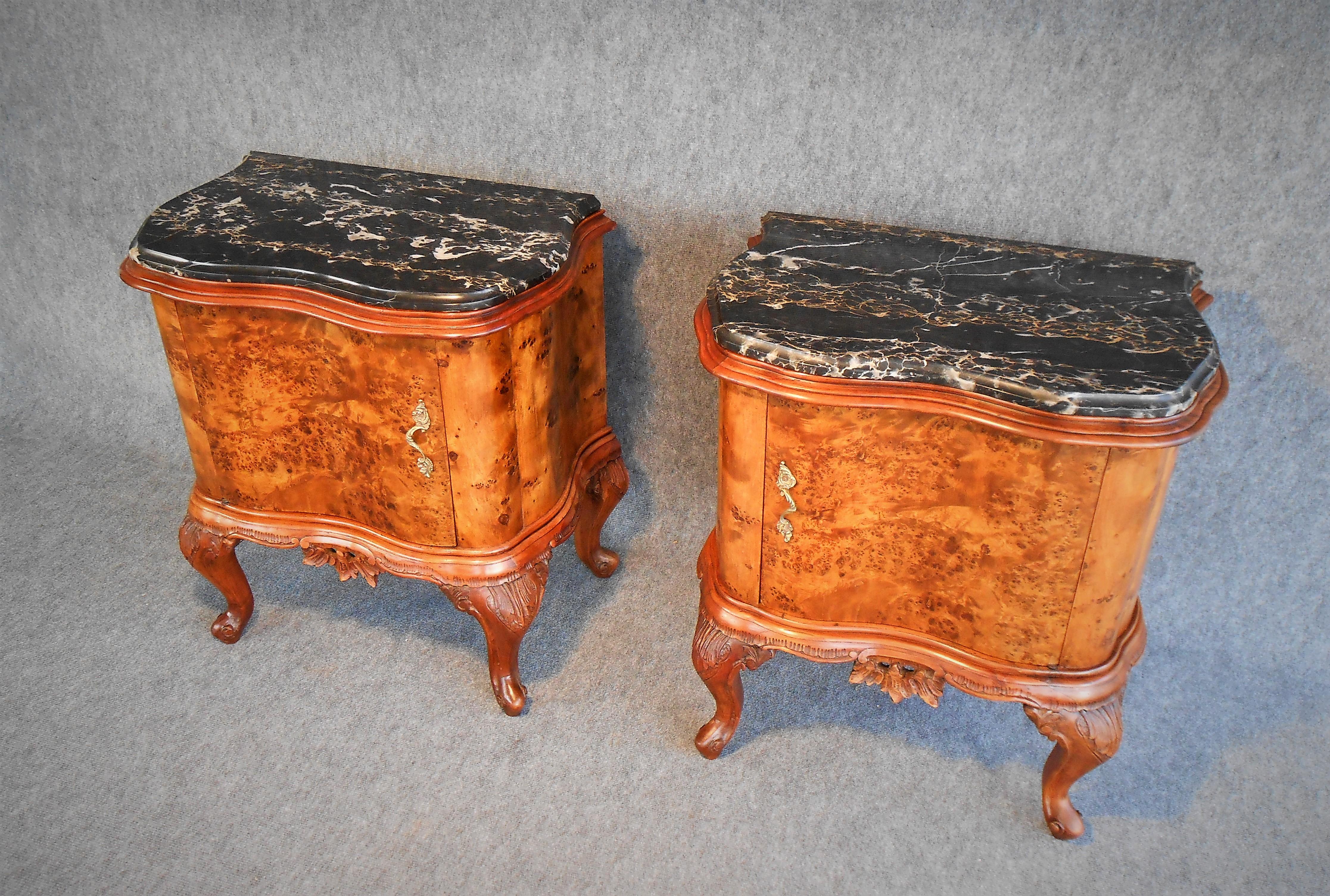 Comodini chippendale impiallacciati con radica di pioppo secolor - Restauro mobili impiallacciati ...